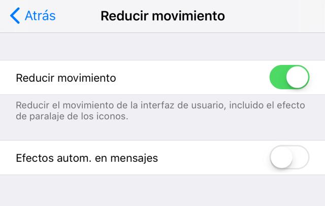Ajustes de disminución de movimiento de iOS℗ en la App de Ajustes
