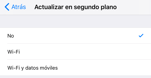 Desactivando la actualización de contenido de Apps en 2.º plano