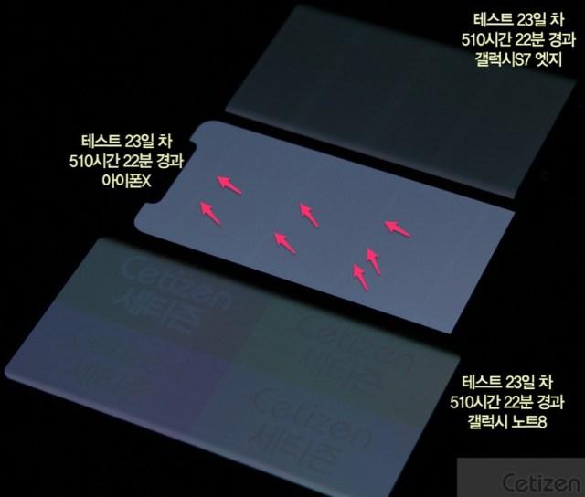 Líneas indicando quemaduras de pixeles en pantallas OLED