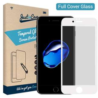 Just in Case Full Cover Tempered Glass iPhone 8/7 (Wit)
