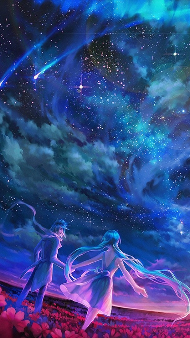 Girl Boy Love Hd Wallpaper Download Anime Sky Shooting Stars Universe Iphone Wallpaper