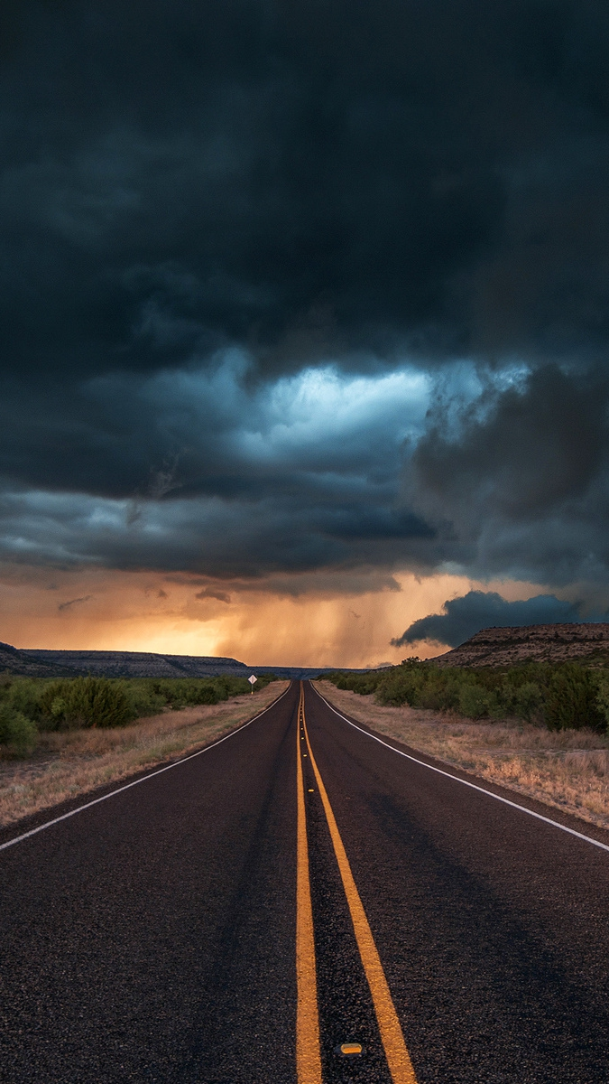 Road State Texas Clouds IPhone Wallpaper IPhone Wallpapers