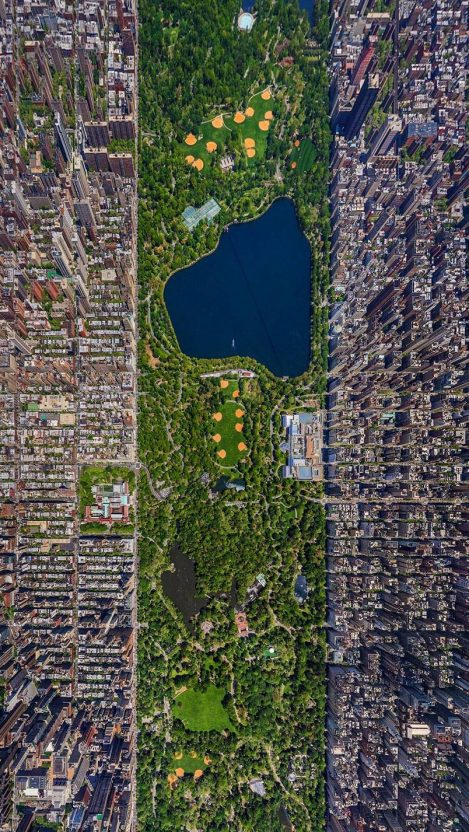 Focus Wallpaper Iphone X New York City Buildings Central Park Satellite Photo