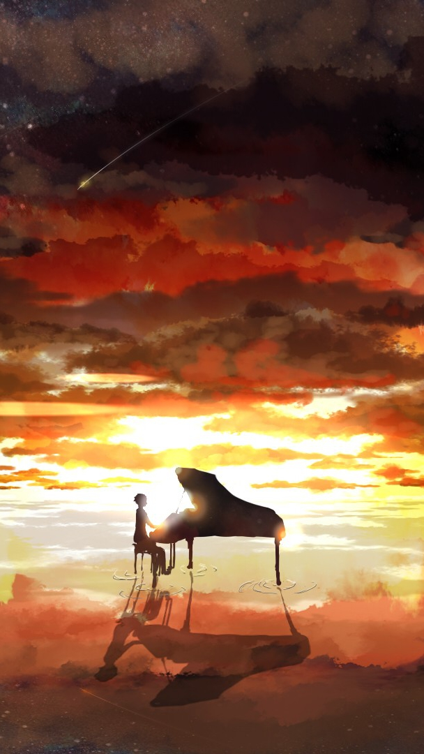 Dragon Wallpaper Cute Piano Rising Sun Anime Iphone Wallpaper Iphone Wallpapers