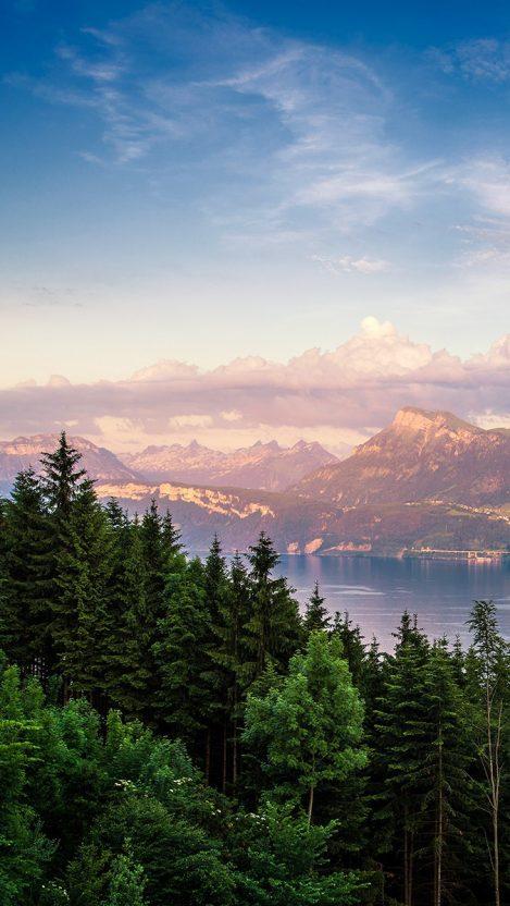 Iphone 7 Plus Lock Screen Wallpaper Switzerland Mountains Clouds Sunset Iphone Wallpaper