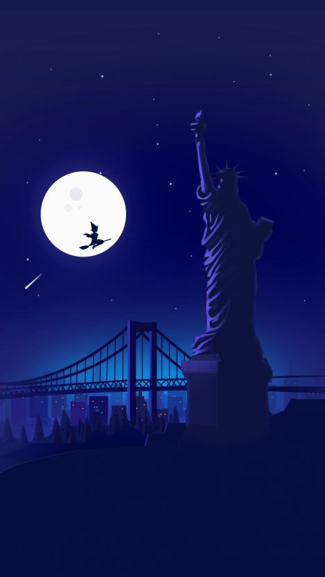 Statue Of Liberty Wallpaper Iphone Halloween Witch At Statue Of Liberty Holloween Night Moon