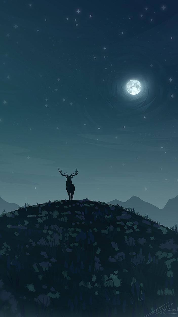 Cute Iphone Christmas Wallpapers Reindeer In Night Moon Iphone Wallpaper Iphone Wallpapers