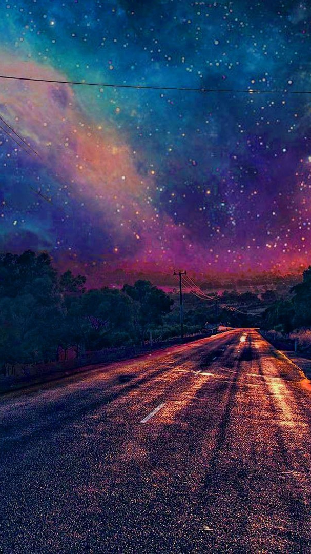 3d Wallpaper Artistic Colourful Galaxy View From Road Wallpaper Iphone Wallpaper