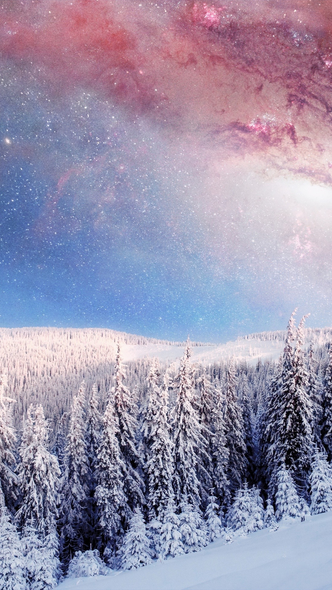 Cute Iphone Wallpapers For Girls Winter Forest Galaxy From Earth Iphone Wallpaper Iphone