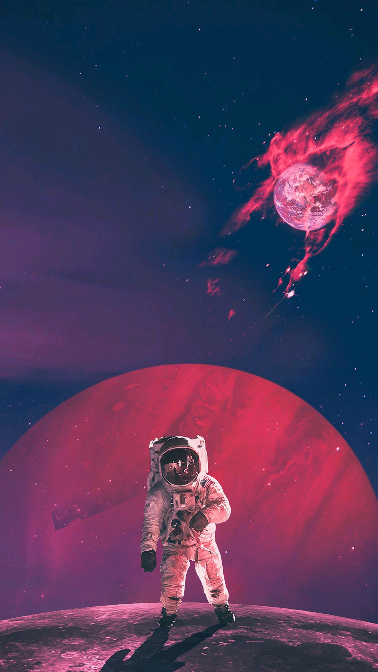 Cute Wallpapers For Girls Desktop Astronaut Artwork Burning Earth Iphone Wallpaper Iphone