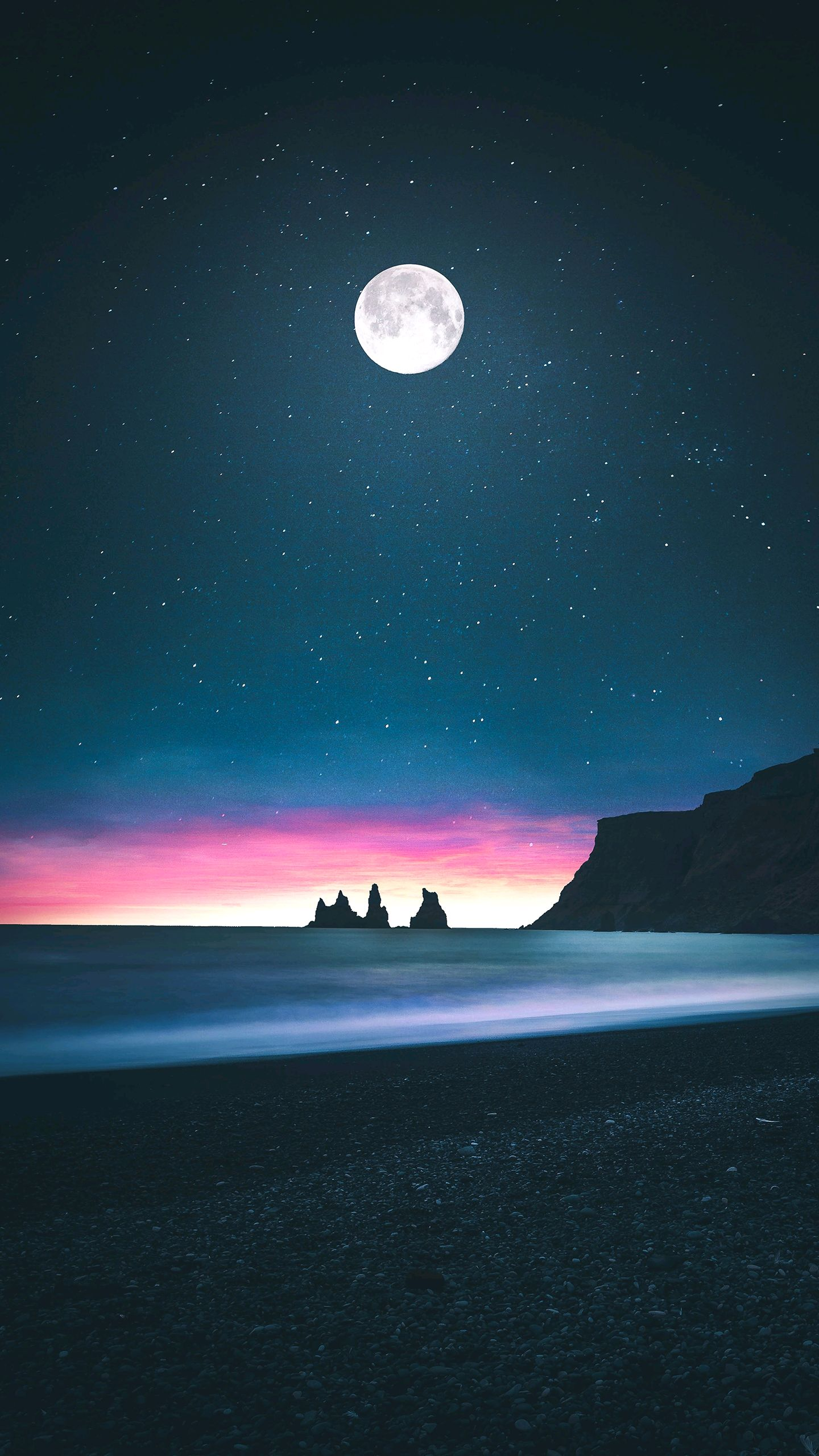 Black Girly Wallpapers For Iphone Beach Moon Horizon Low Tides Iphone Wallpaper Iphone