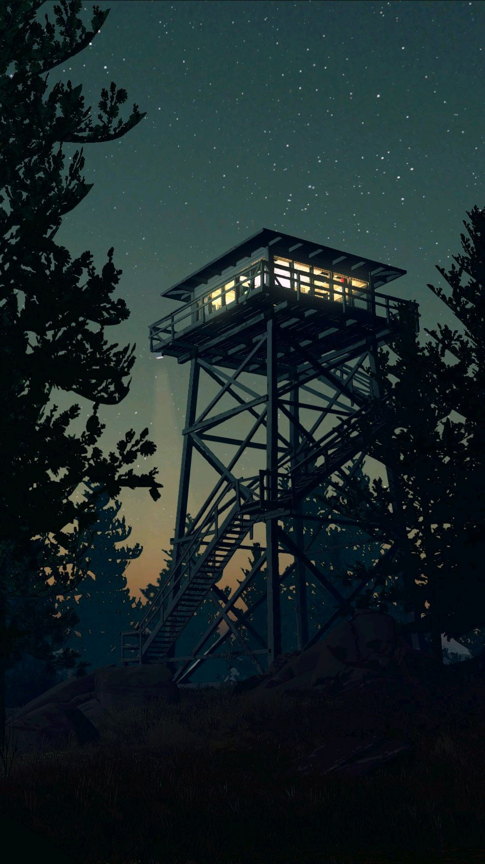 Cute Anime Wallpaper For Phone Firewatch Game Minimal Tower Night Iphone Wallpaper