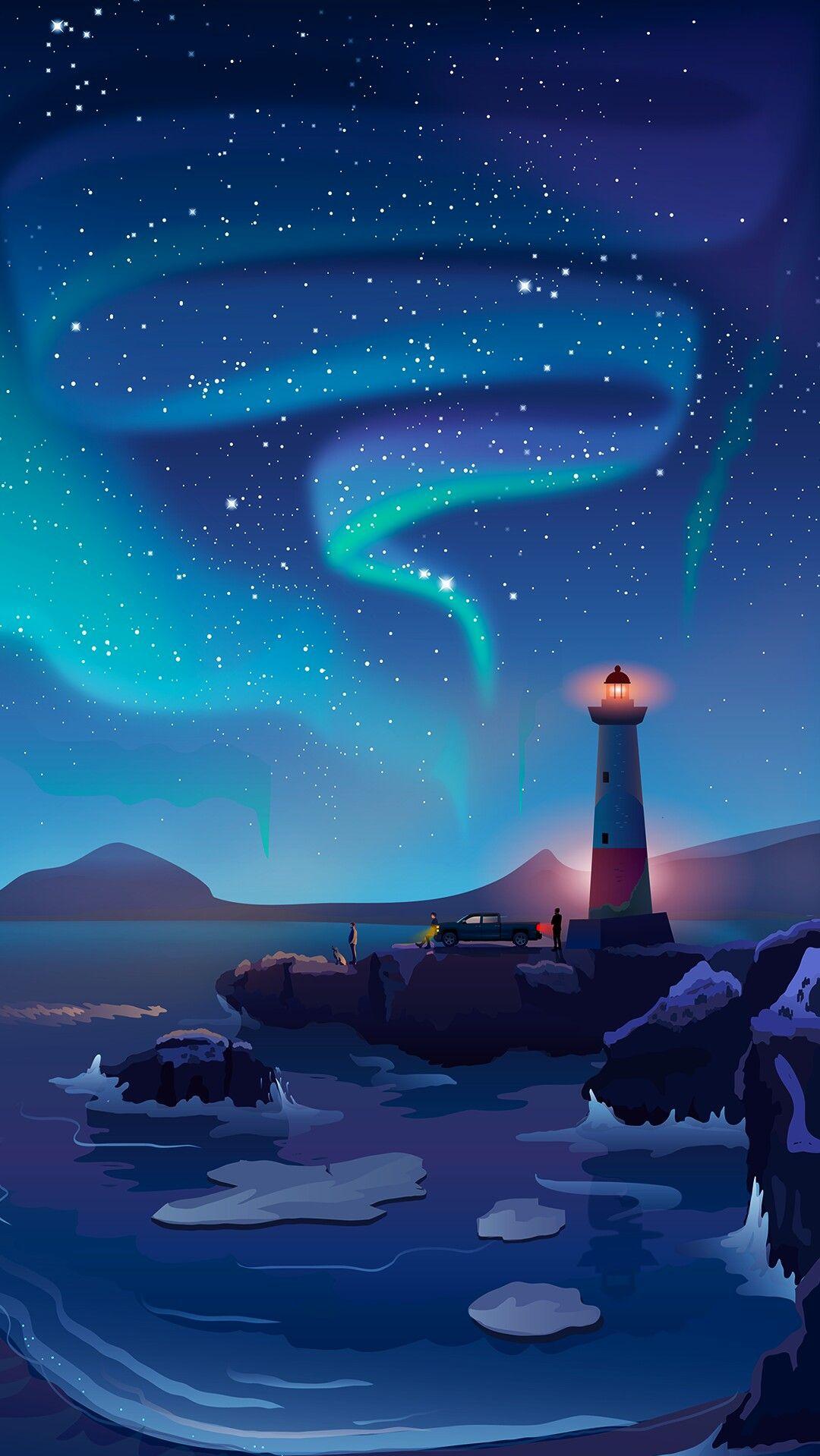 Animal Planet Wallpaper Light House Artistic Beach Night Sky Iphone Wallpaper