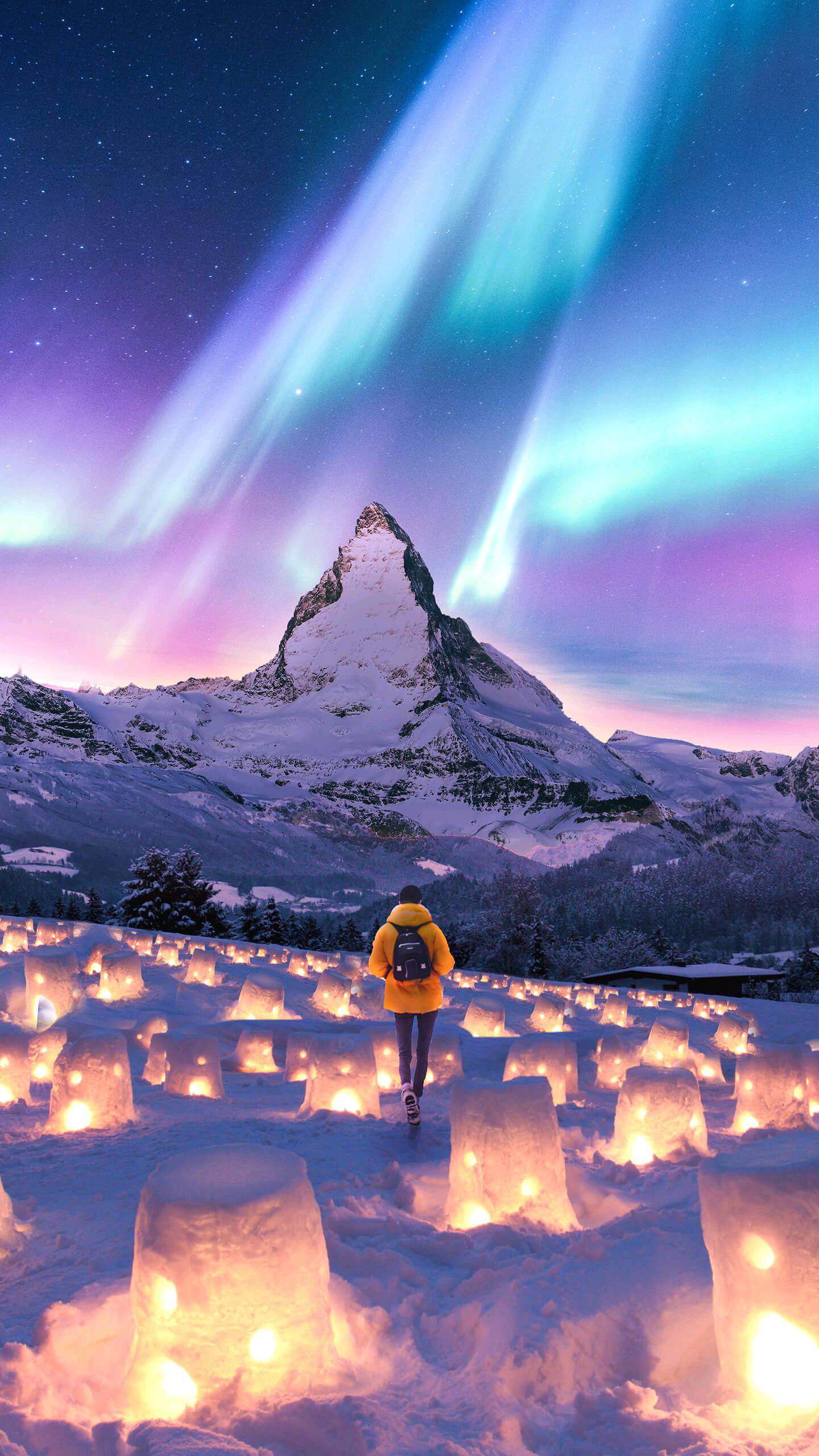 Cute Christmas Wallpaper Quotes Alps Mountain Switzerland Valley Of Snow Lanterns Iphone