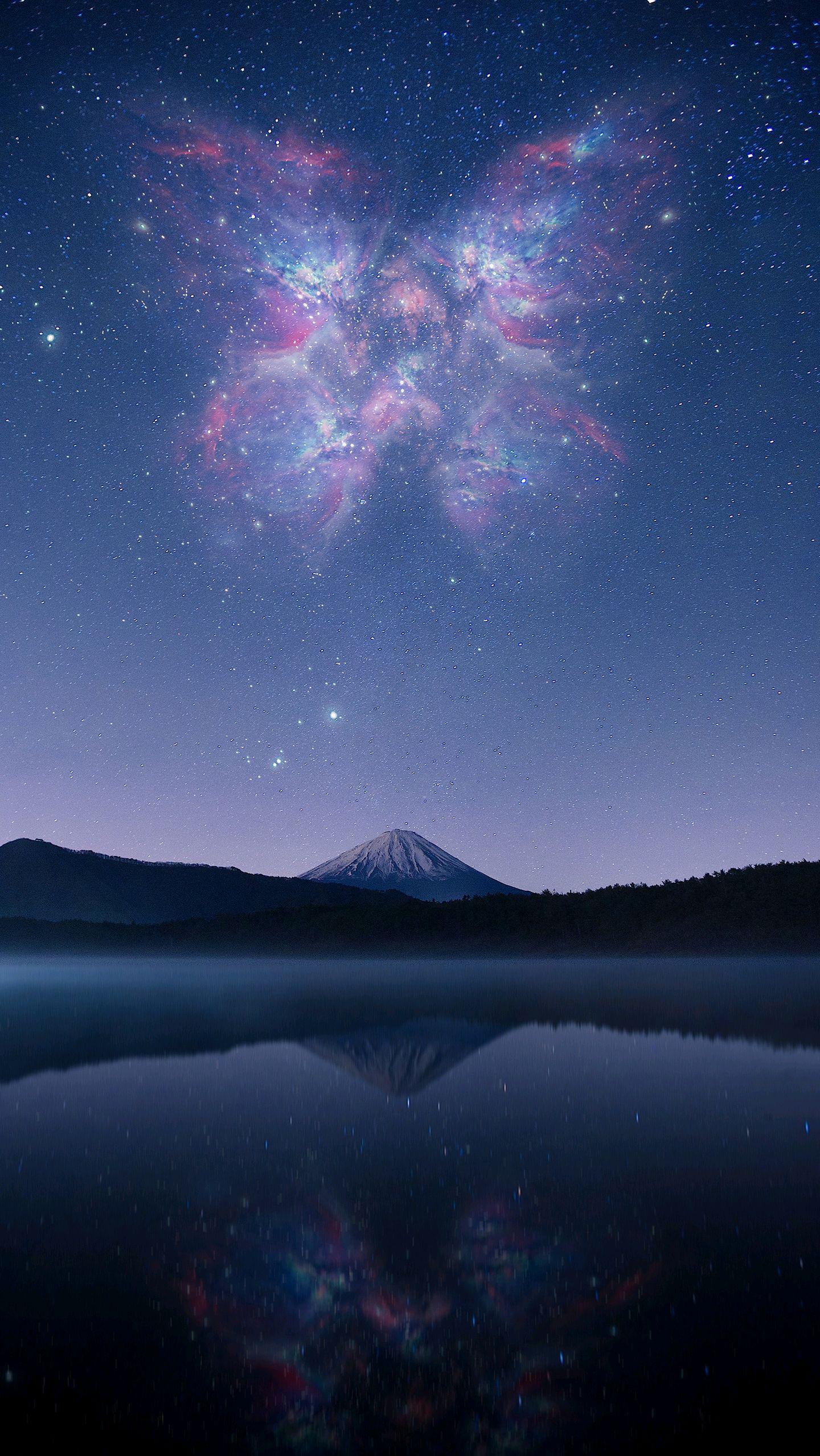 Cute Animal Wallpapers For Phones Mount Fuji Lake Night Stars Iphone Wallpaper Iphone