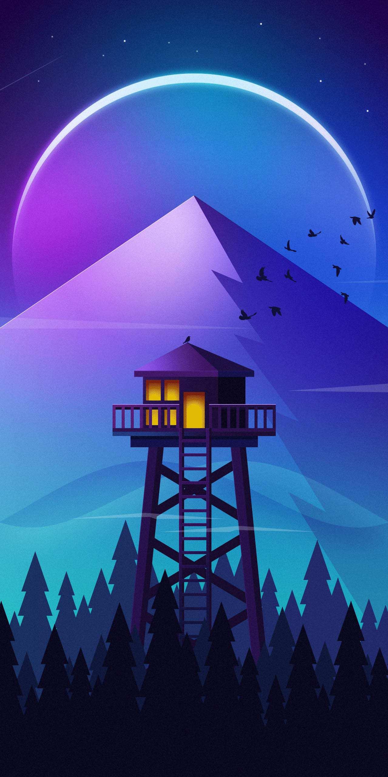 Purple Iphone Wallpaper Minimal Watch Tower Forest Iphone Wallpaper Iphone