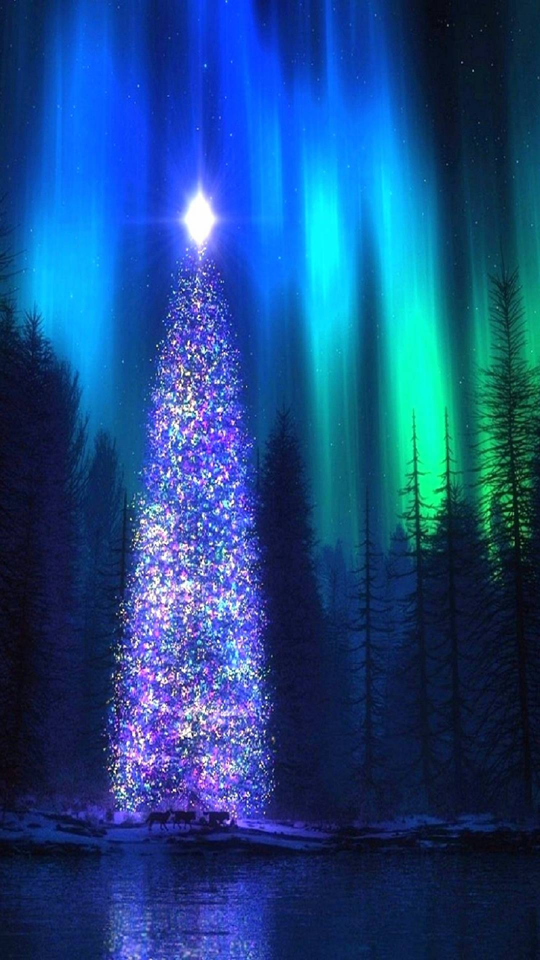 Cute Christmas Iphone Wallpapers Nothern Lights Christmas Tree Iphone Wallpaper Iphone