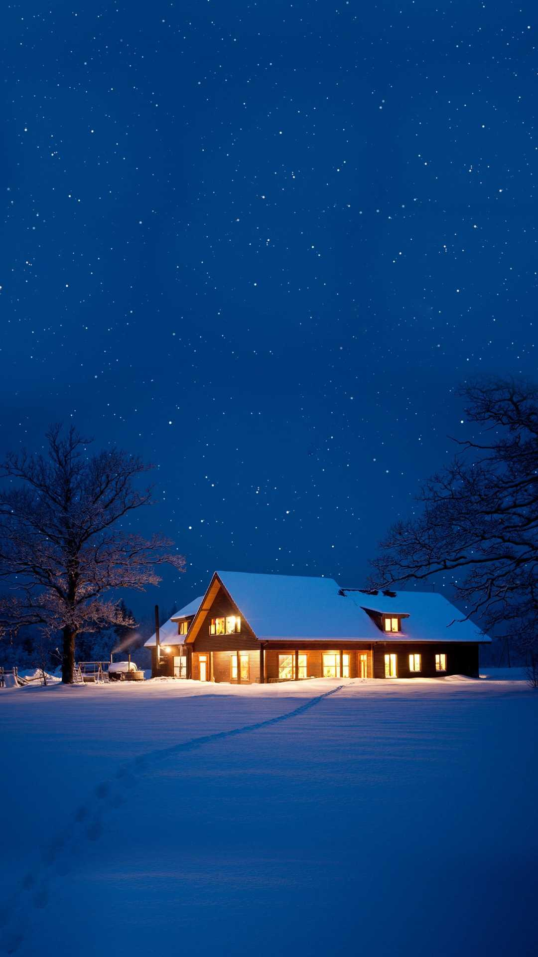 Cute Christmas Wallpaper Quotes Snow House Christmas Night Iphone Wallpaper Iphone