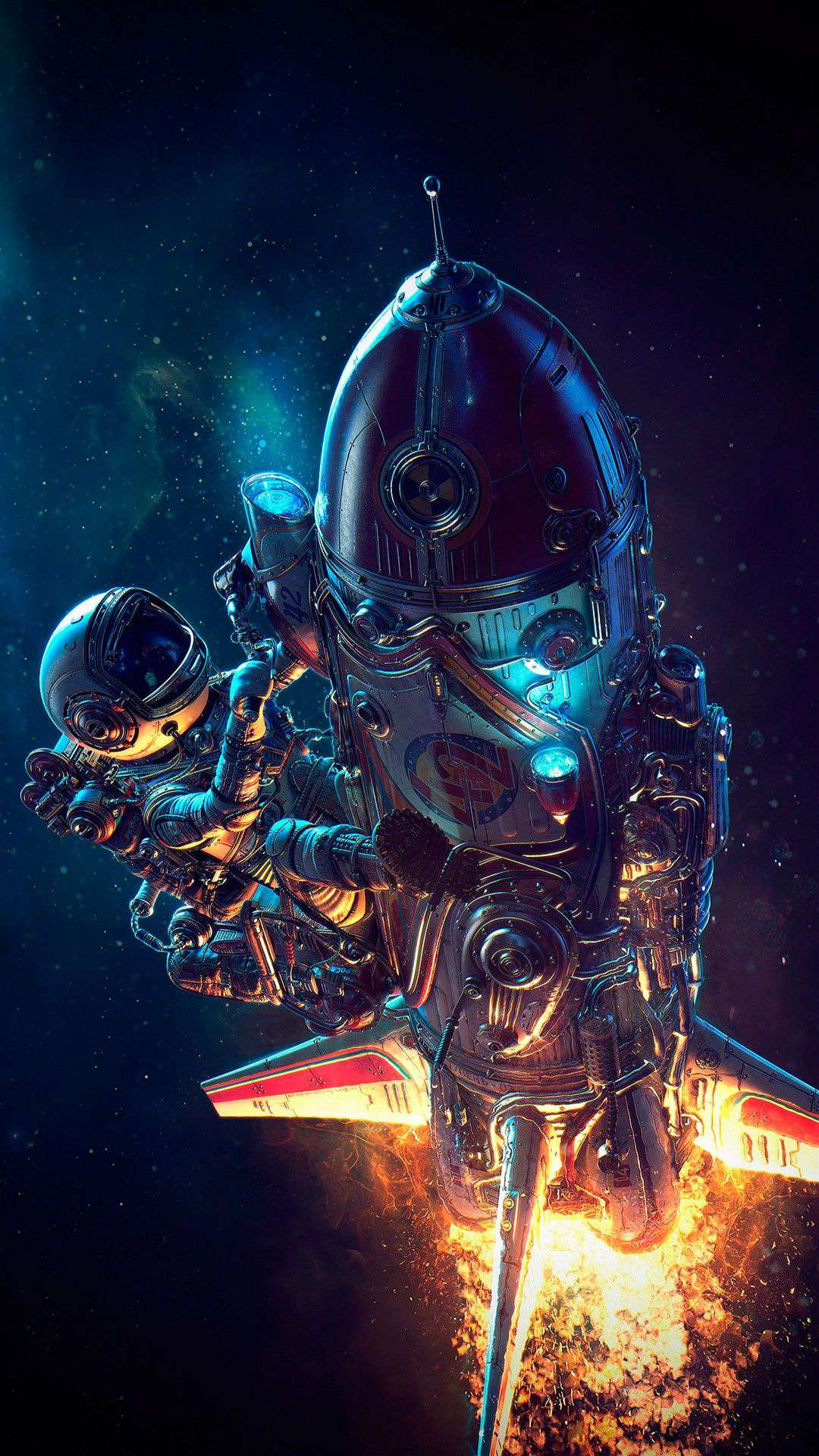 Digital Cars Wallpapers Space Astronaut On Rocket Ship Iphone Wallpaper Iphone