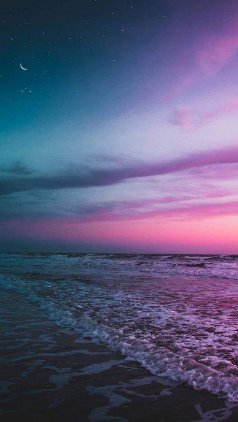 Cute Animal Wallpaper For Computer Ocean Beach Twilight Moon Starry Sky Iphone Wallpaper