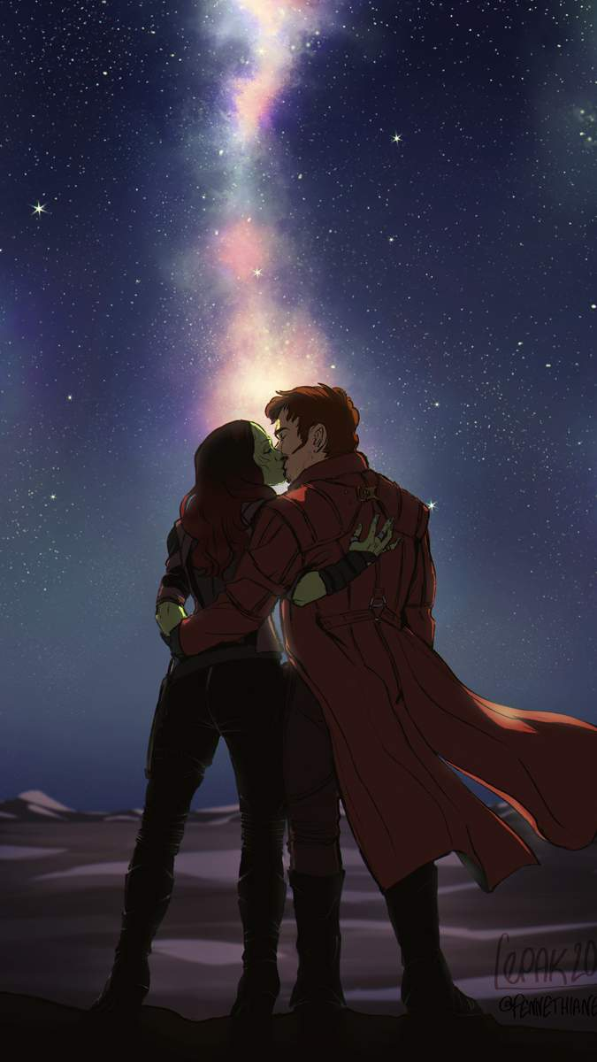 Anime Girl Drawing Wallpaper Starlord And Gamora Kiss Iphone Wallpaper Iphone Wallpapers