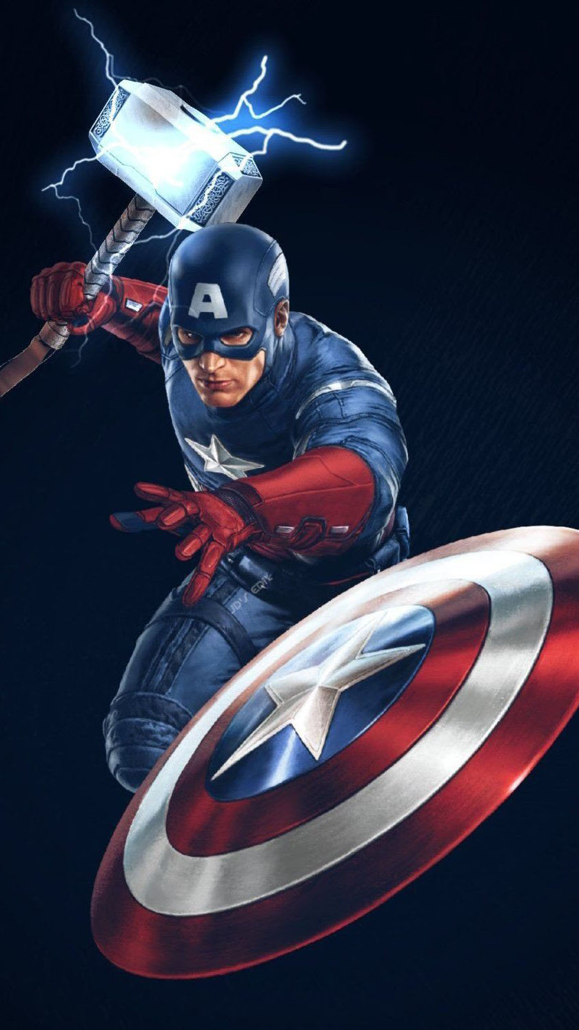 Animal Face Wallpaper Captain America With Thor Hammer Worthy Iphone Wallpaper