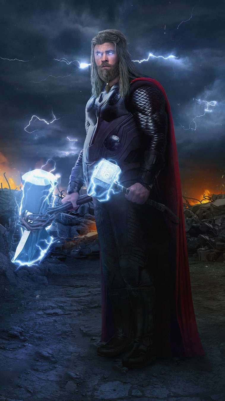 Cute Anime Iphone Wallpaper Fat Thor With Stormbreaker And Hammer Iphone Wallpaper