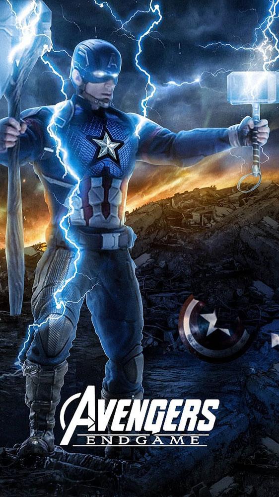 Anime Quotes Desktop Wallpaper Captain America Holds Stormbreaker And Mjolnir Iphone