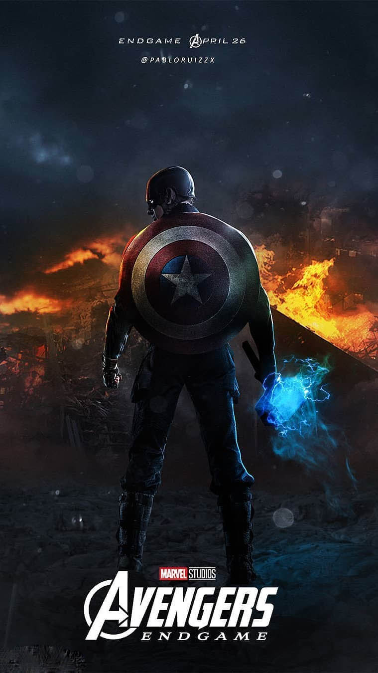 May Girls Wallpaper Captain America With Mjolnir Endgame Iphone Wallpaper