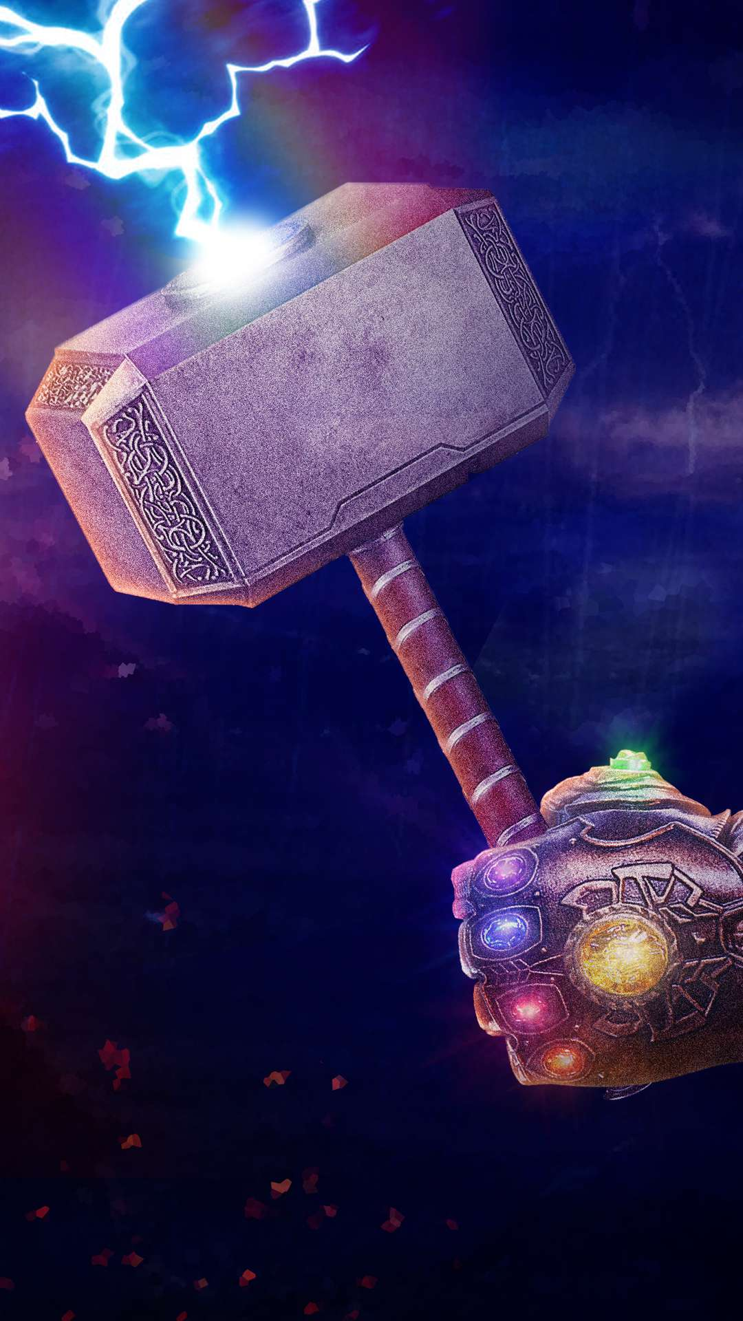 Cute Hristmas Wallpaper Thanos Gauntlet With Thor Hammer Iphone Wallpaper Iphone