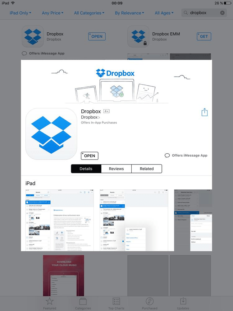Dropbox voreinstellen