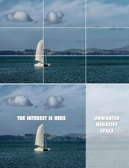 Fotografia que mostra como a regra dos terços cria espaço negativo indesejado.