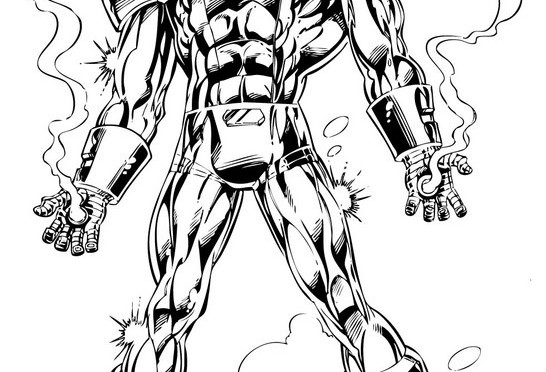 Iron Man Cartoon Black and White Coloring White Wallpaper