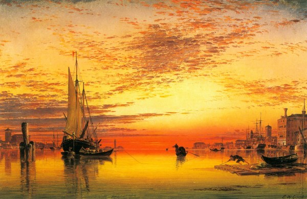 Sunset Port Oil Painting Art Hd Wallpapers