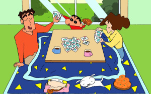 Shin Chan Cute Wallpapers Crayon Shin Chan Family Were Playing Cards Hd Wallpaper