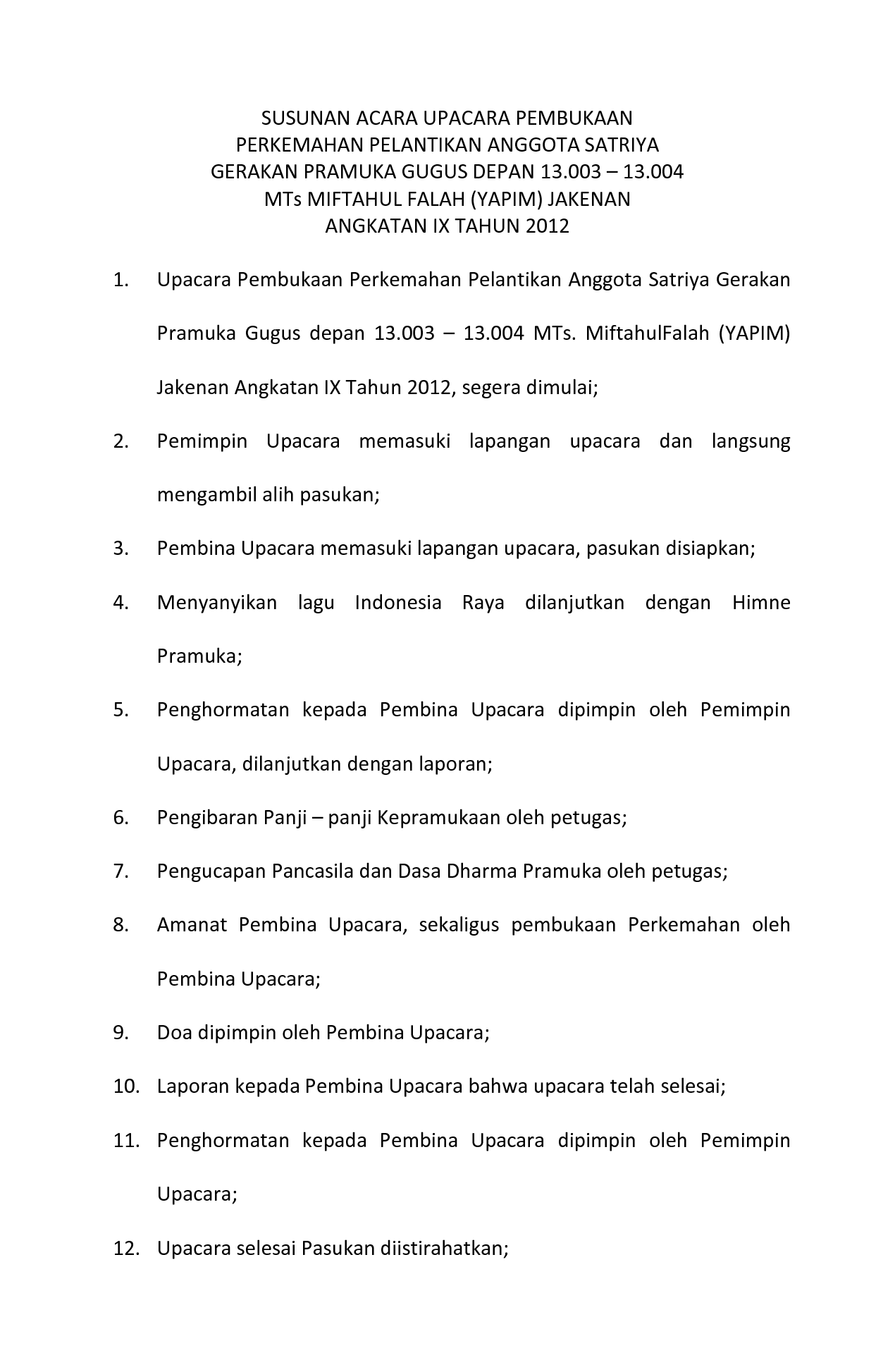 Tata Upacara Pramuka Siaga : upacara, pramuka, siaga, PRAMUKAKU, Ipincom