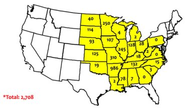 map of dicamba-related injury investigations as reported by state departments of agriculture as of October 15, 2017.