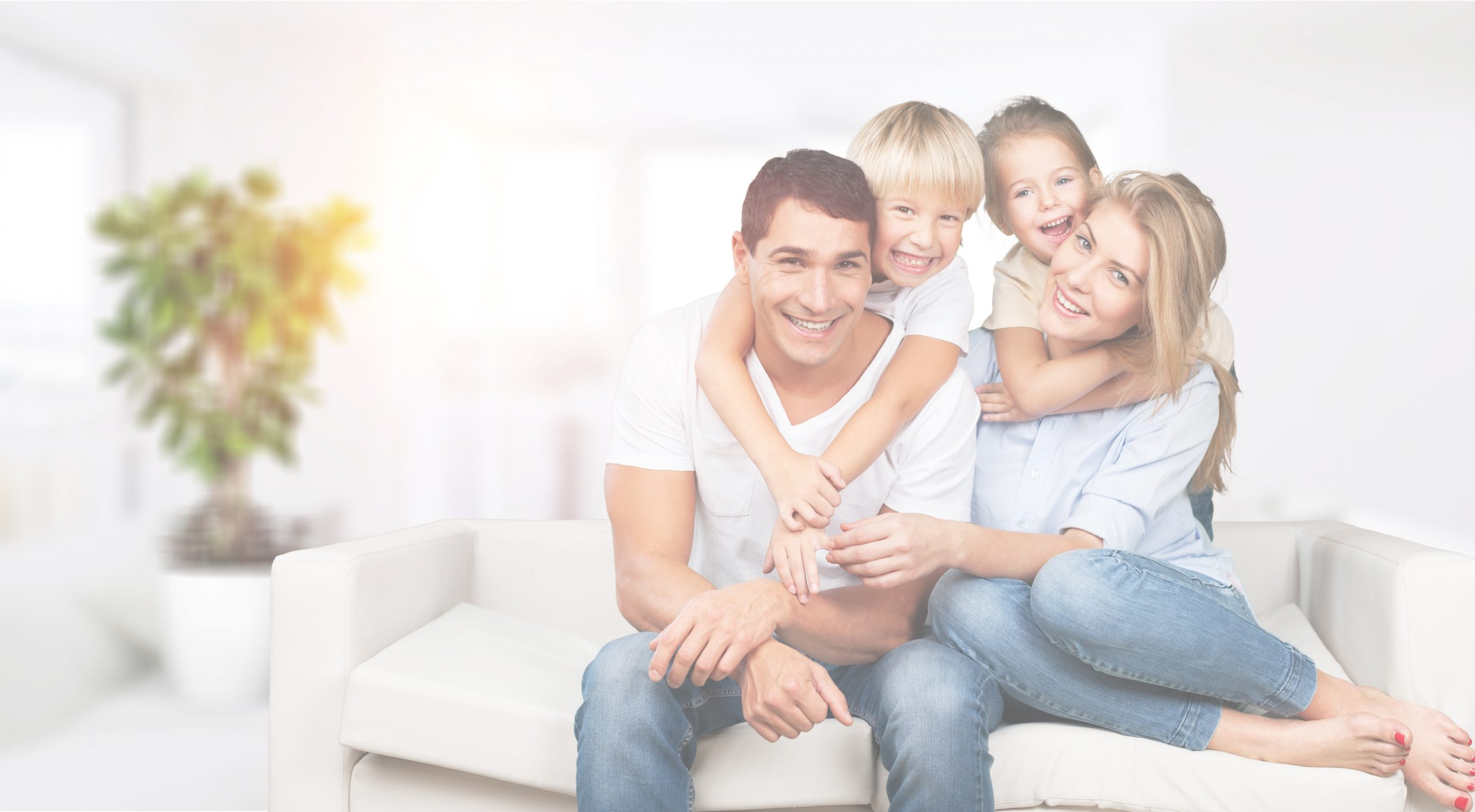Family in their home with white overlay