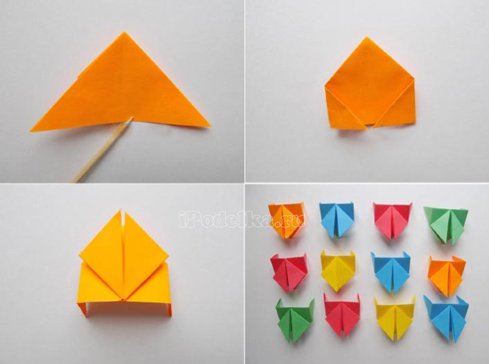 Қағаз квадраттарынан оригами техникасындағы шынжыр табандар