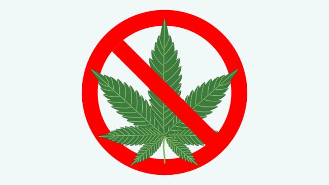 znak zakazu marihuany