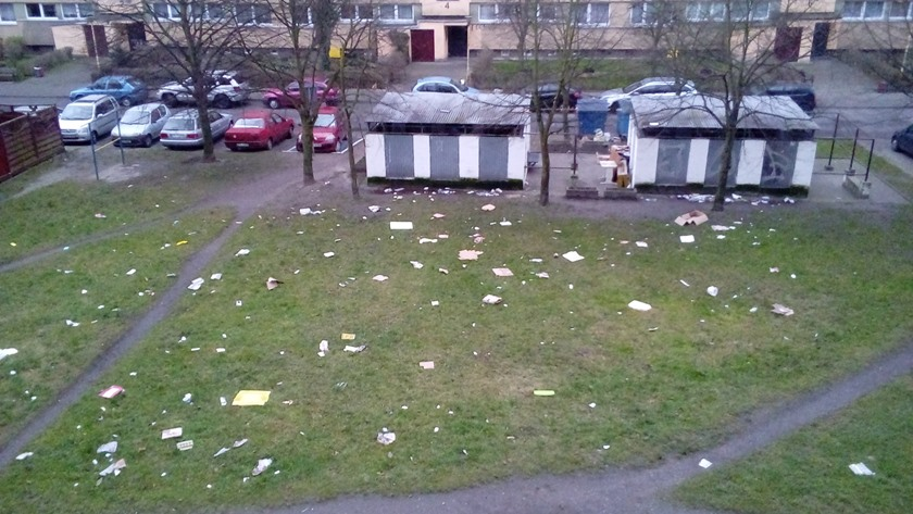 papiery na trawniku