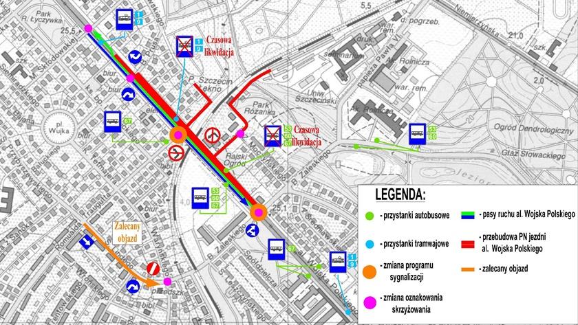 zmiana organizacji ruchu na al. Wojska Polskiego w Szczecinie