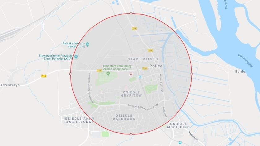 pole rażenia bomby znalezionej przy Tanowskiej