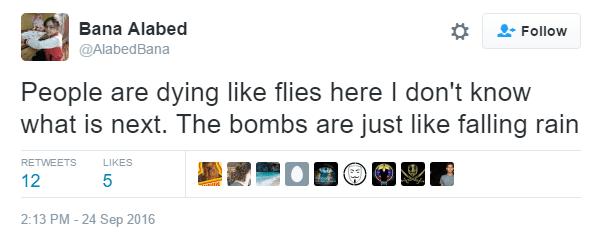 7-årige Bana Alabed tweeter fra Aleppo.
