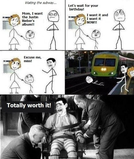 Justin Bieber meme cartoon - kid pushed in front of train