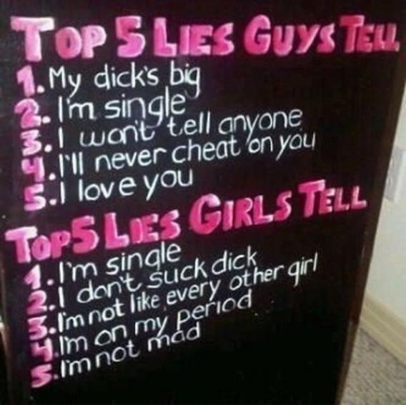 Top 5 lies guys tell - top five lies girls tell