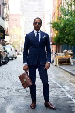 navy suit brown shoes
