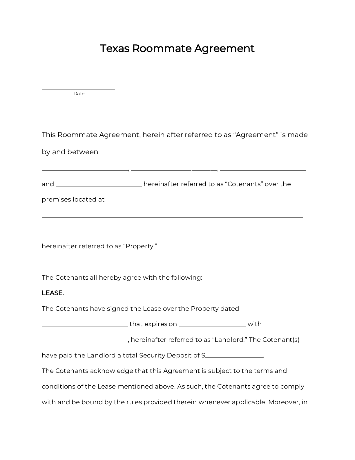 Knowing the importance of having one as well as what should be written in the agreement are helpful in terms of creating the perfect room rental agreement template. Official Texas Room Rental Agreement Roommate Form 2021 Pdf