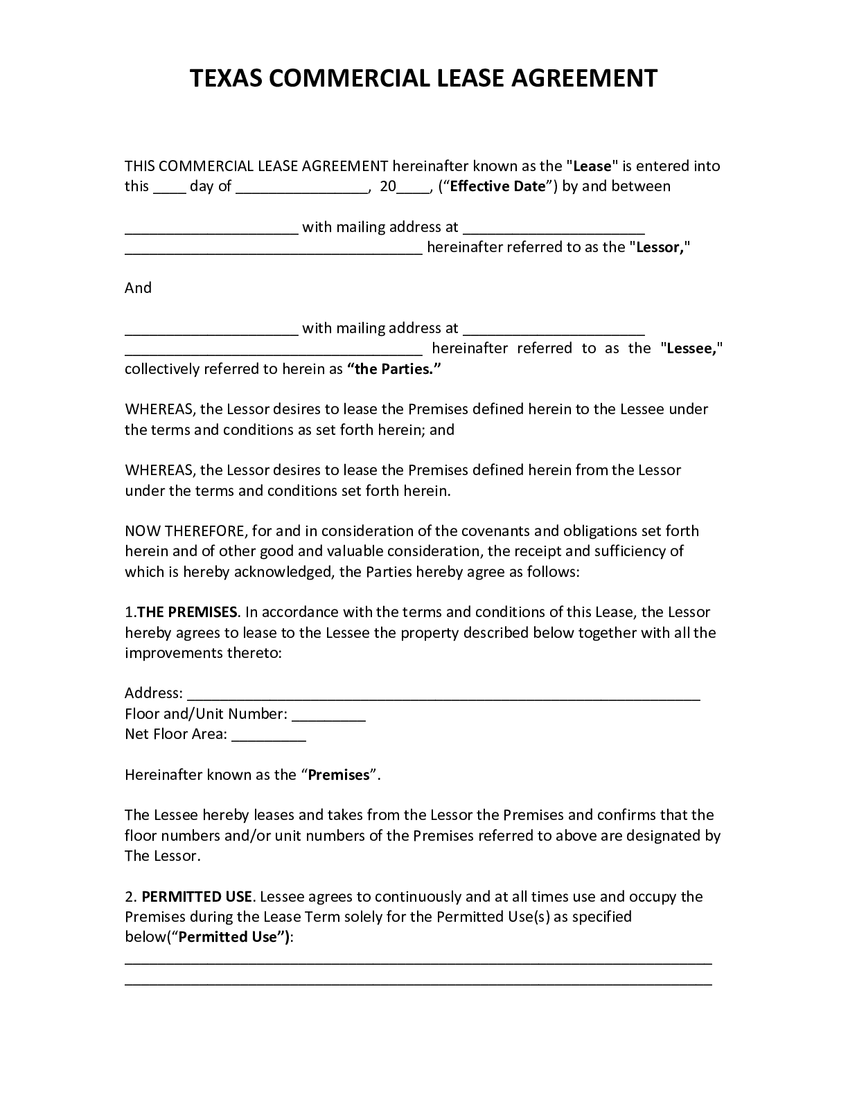 Customize your own contract with eforms. Official Texas Commercial Lease Agreement 2021 Pdf Form