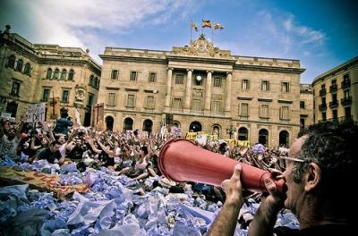 Protest in Spain; photo by Mandeep Flora via Flickr